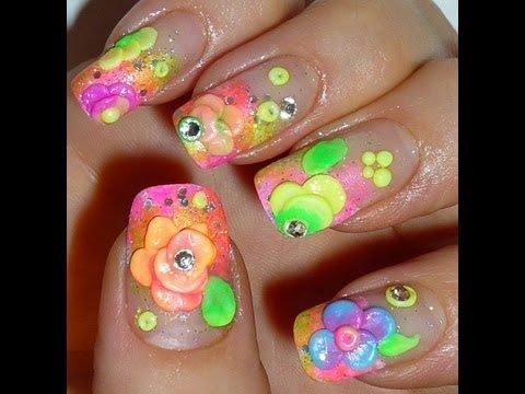 April Showers Brings May Flowers 3d Nail Art Design เล บ
