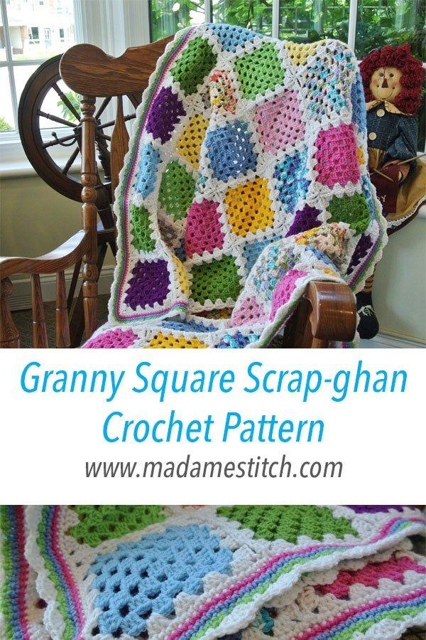 Granny Square Scrap-ghan Crochet Pattern | Scrap yarn crochet ...