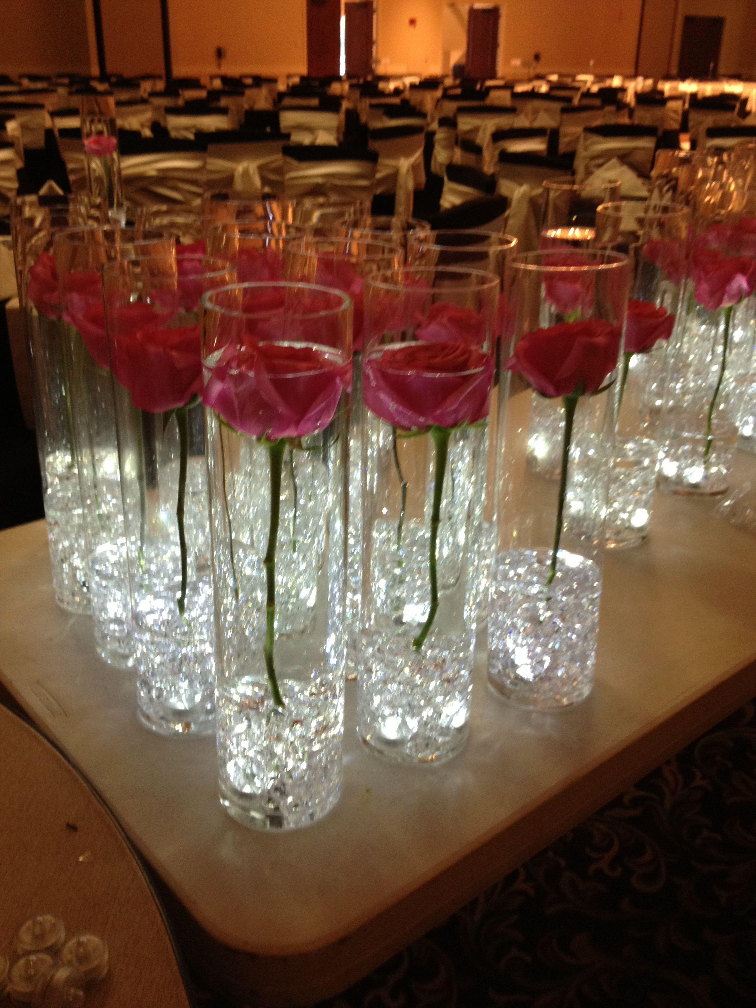 Single Rose In Cylinder Vase With Submersable Leds Rose Centerpieces Wedding Rose Centerpieces Beauty And Beast Wedding