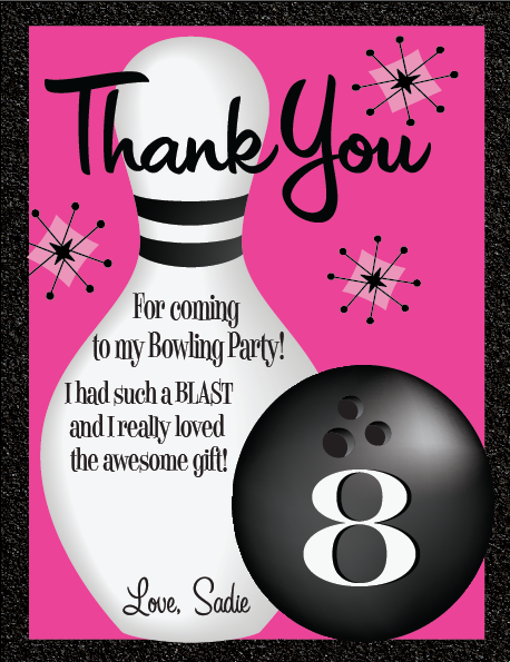 bowling birthday thank you card retro bowling party invitation