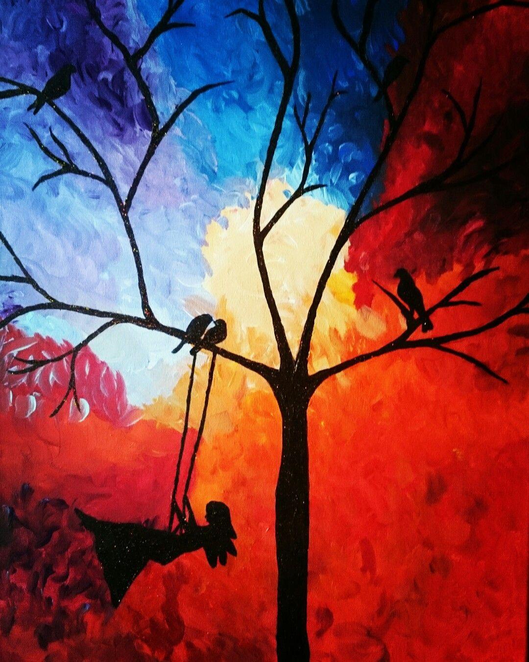 Herbst Autumn Zauber Magie Baum Tree Schaukel Leinwand