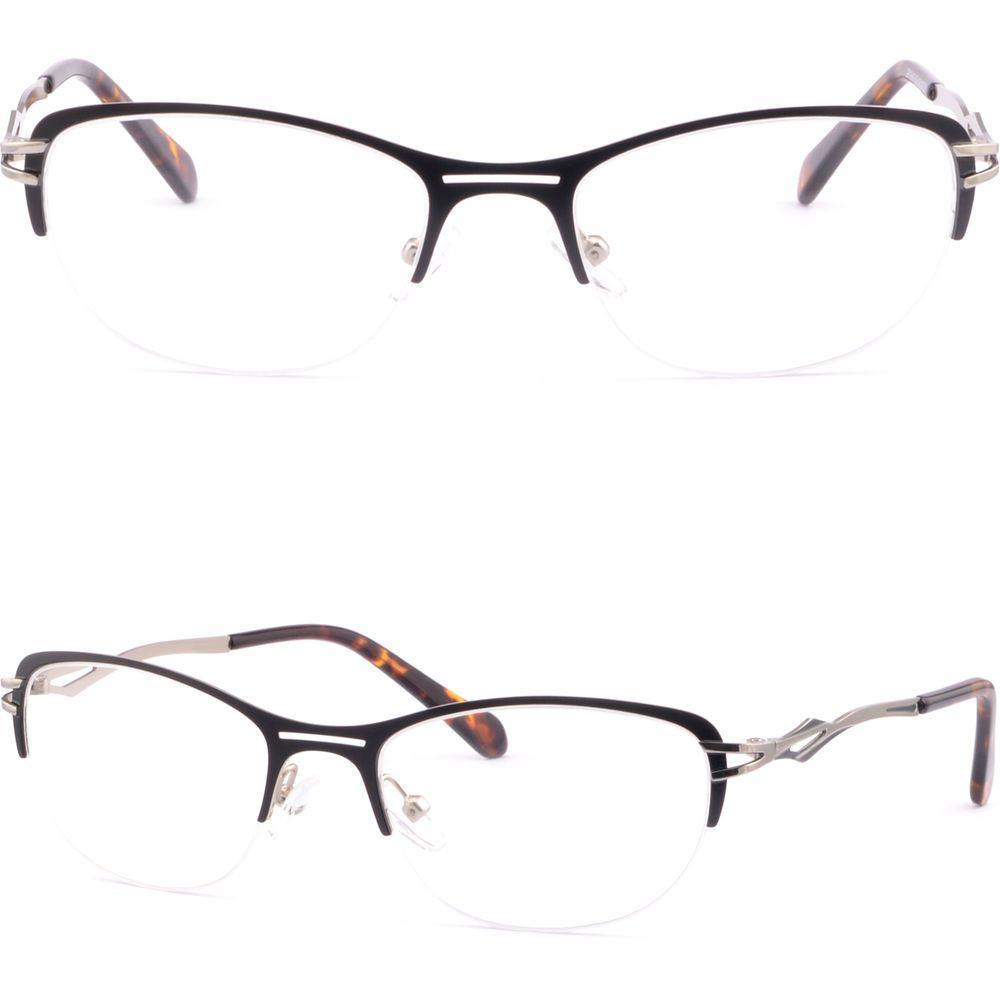 Half Rimless Metal Women Cat-eye Cat Eye Frame Prescription Glasses Black Silver #Unbranded