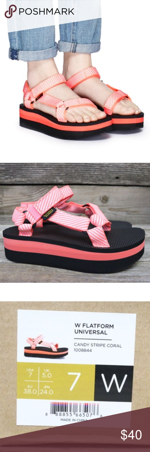 704a241d397b2d Teva Flatform Universal Candy 🍭Stripe Sandals 7 New and authentic! Teva  Shoes Sandals