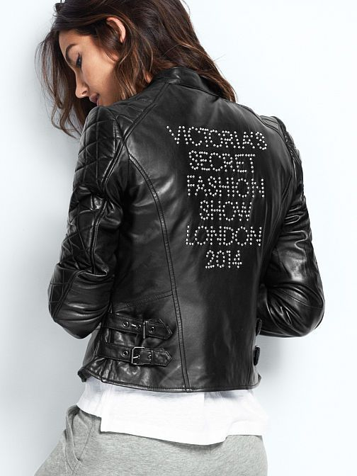 Victorias Secret Angels London FASHION SHOW 2014 Black LEATHER JACKET LARGE