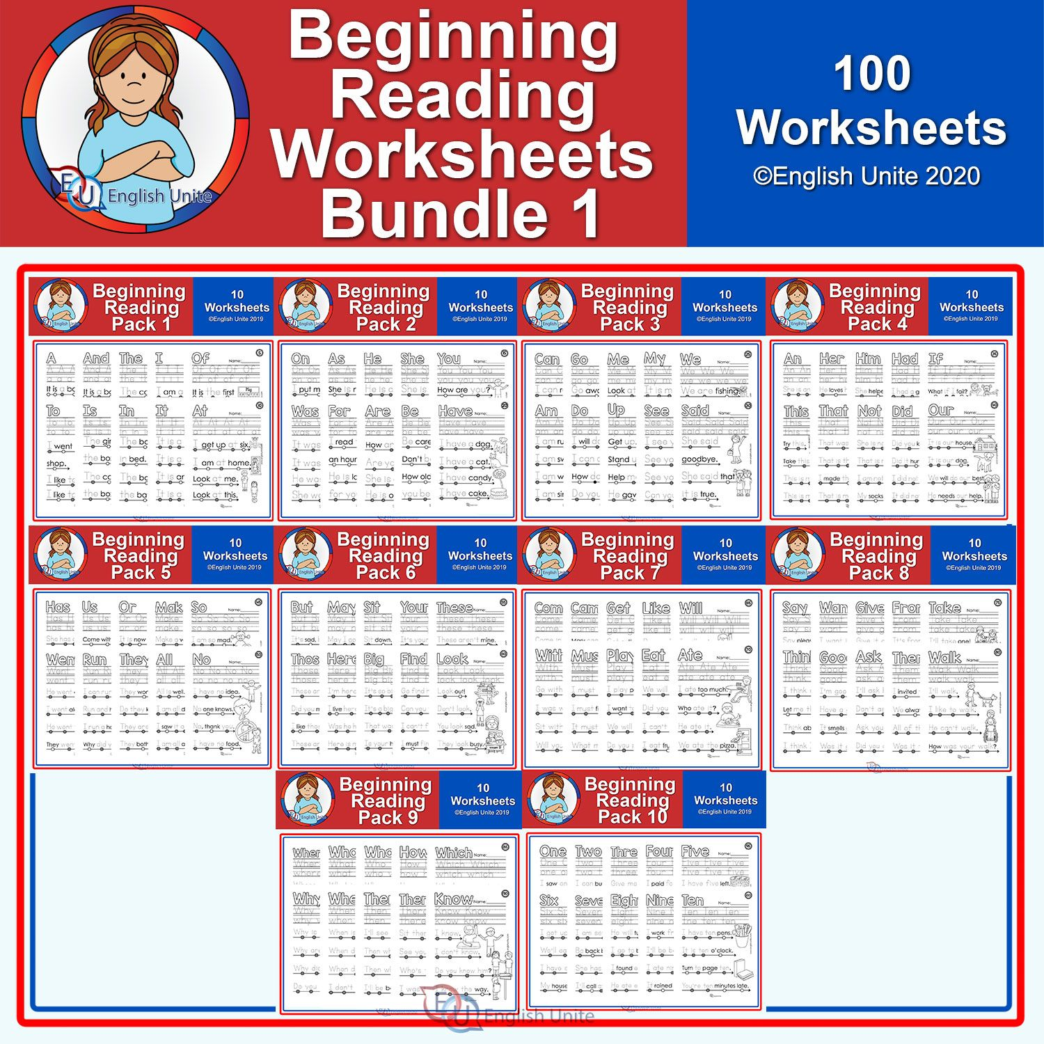 Beginning Reading Worksheet Bundle 1 In