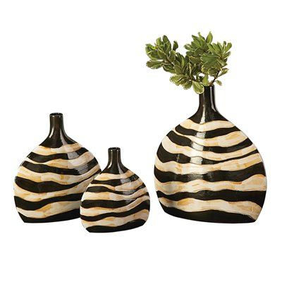 Zebra Print Vase Set This Set Of Three Ceramic Vases Feature A Large
