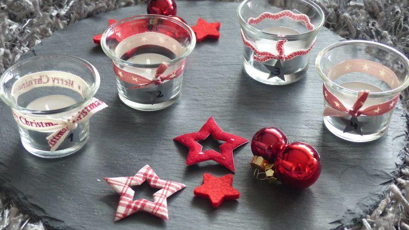 #DIY #Adventskranz #modern #rot #Sterne #Advent #Deko #Teelichter