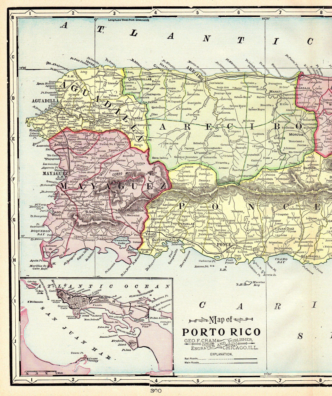 1905 Antique PUERTO RICO Map Vintage Map of Porto Rico Map ...