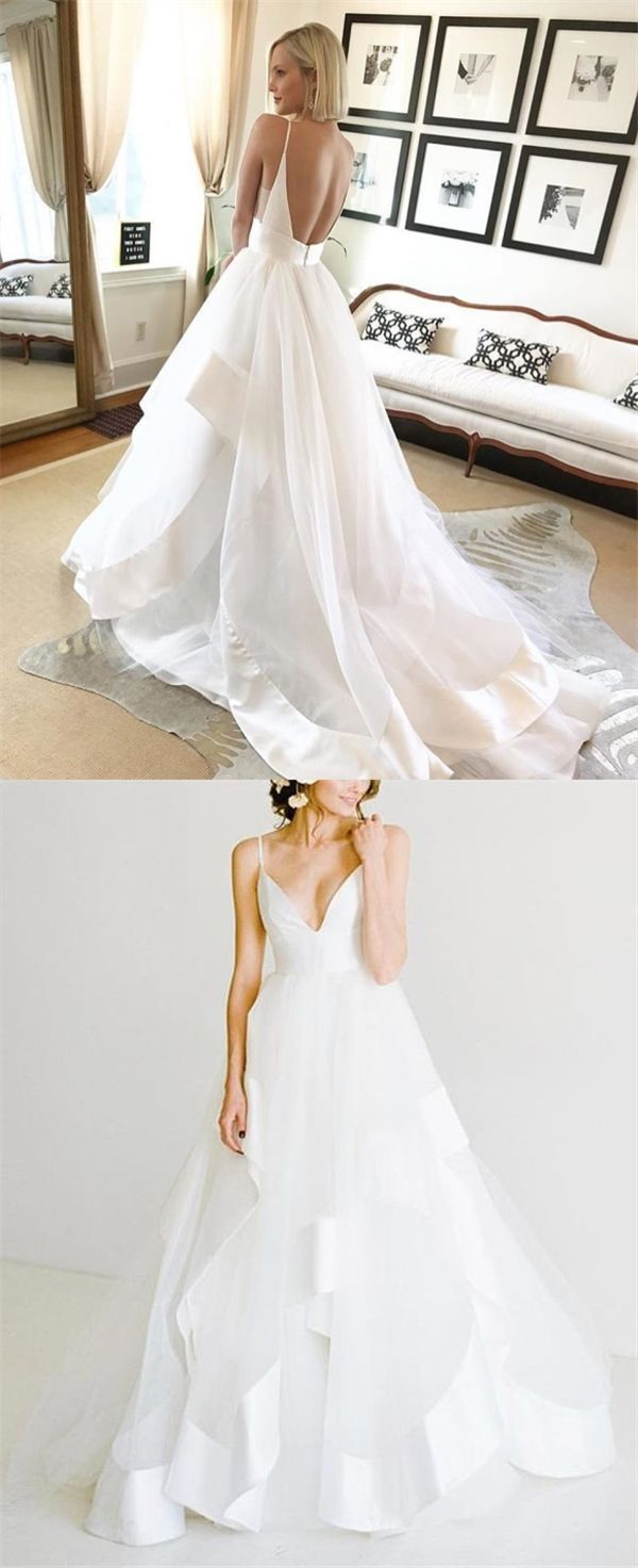 White backless ball gown beach wedding dresses simple tulle