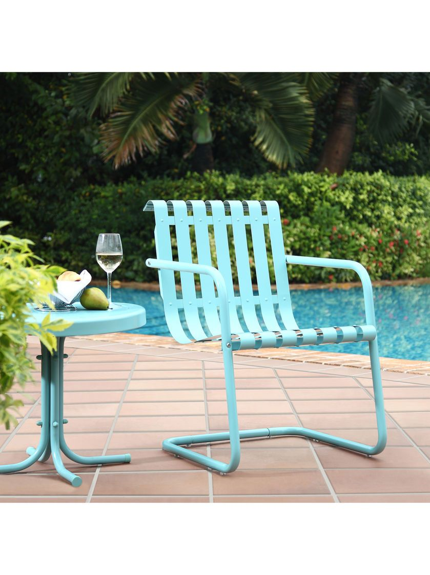 Crosley Gracie Retro Metal Spring Chairs Set Of 2 Stainless Steel Chair Outdoor Chairs Patio Furniture