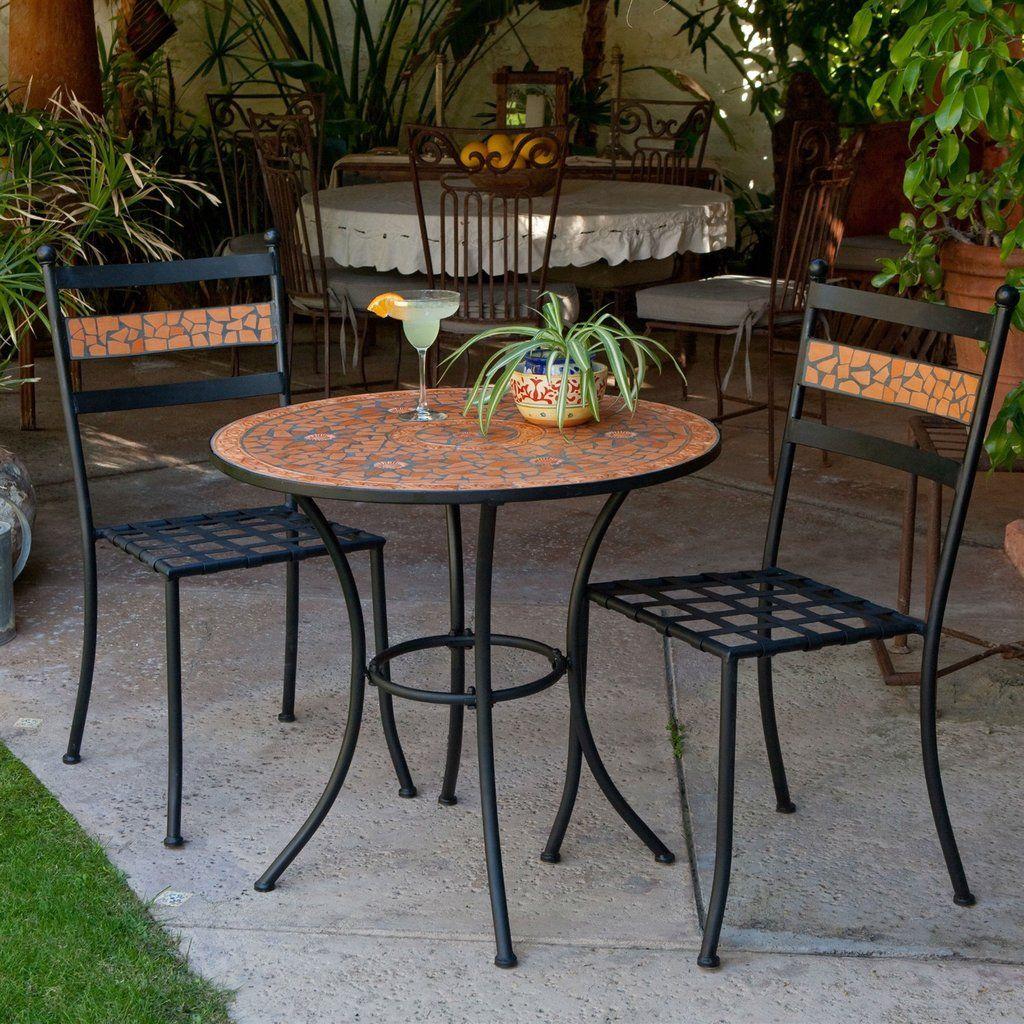 3 Piece Black Metal Patio Bistro Set With Terra Cotta Tiles Outdoor Outdoor Furniture Patio Outdoor Patio Furniture Sets Patio Dining Furniture Patio Decor