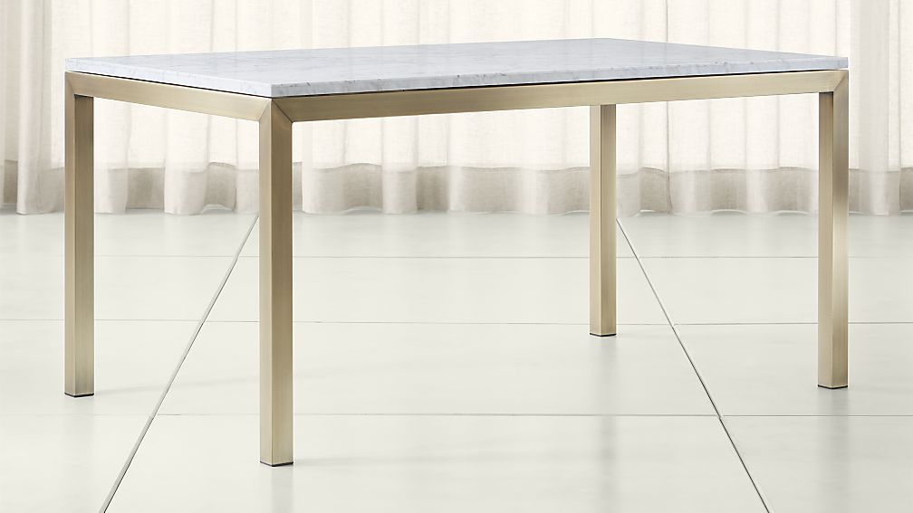 Parsons White Marble Top Brass Base Dining Tables Crate And