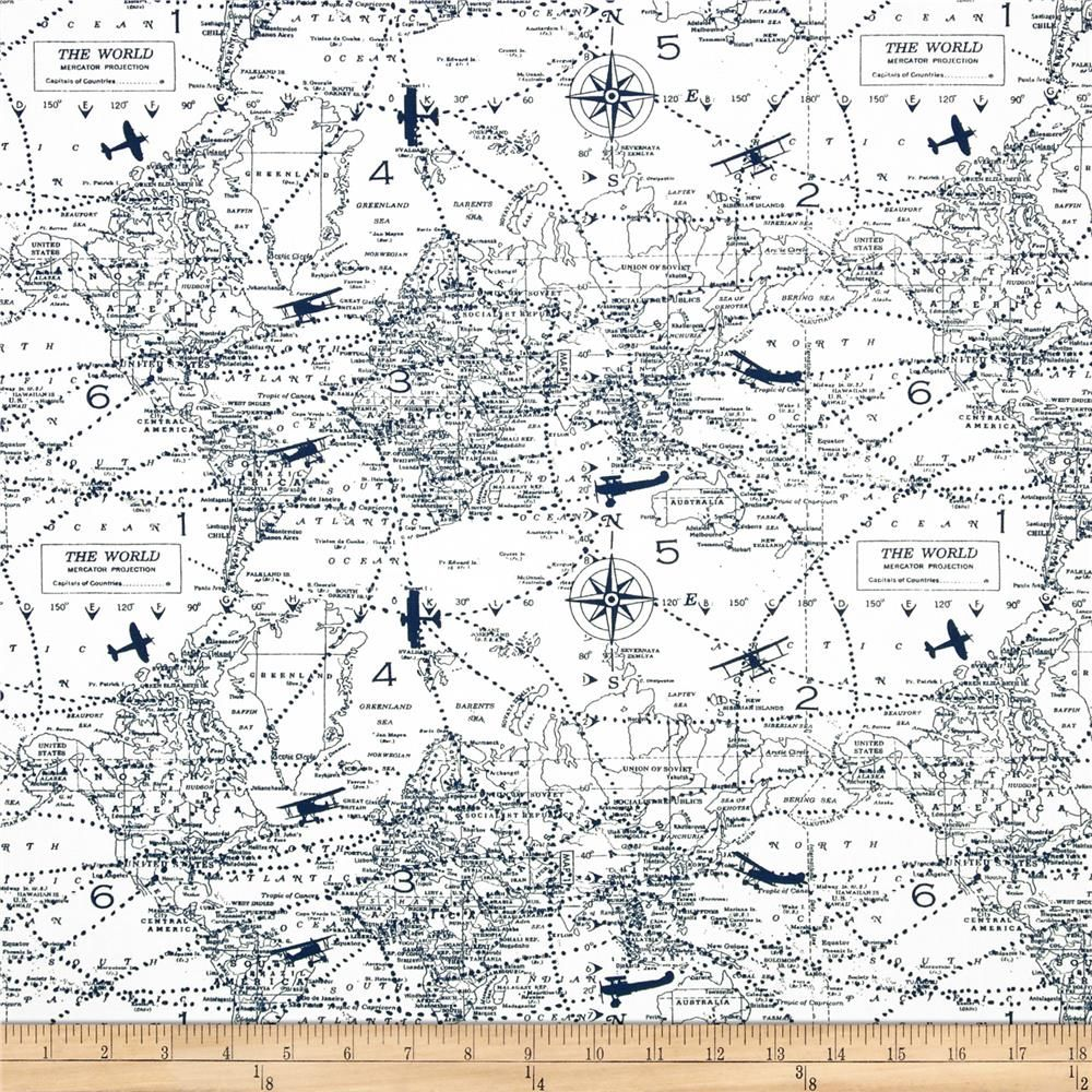 Premier prints air traffic premier navy from fabricdotcom screen sale ships same day premier prints air traffic premier navy airplane map home decor fabric fabric by the yard gumiabroncs Gallery
