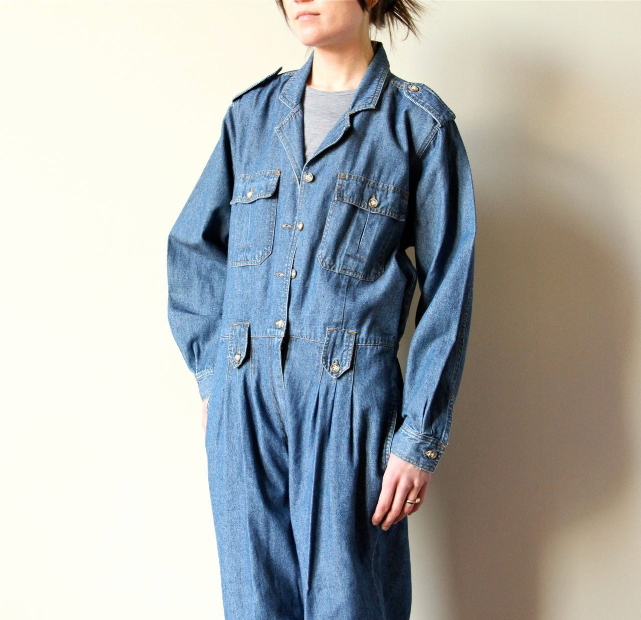 80s Denim Jumpsuit, Bill Blass chambray mechanic overalls designer ...