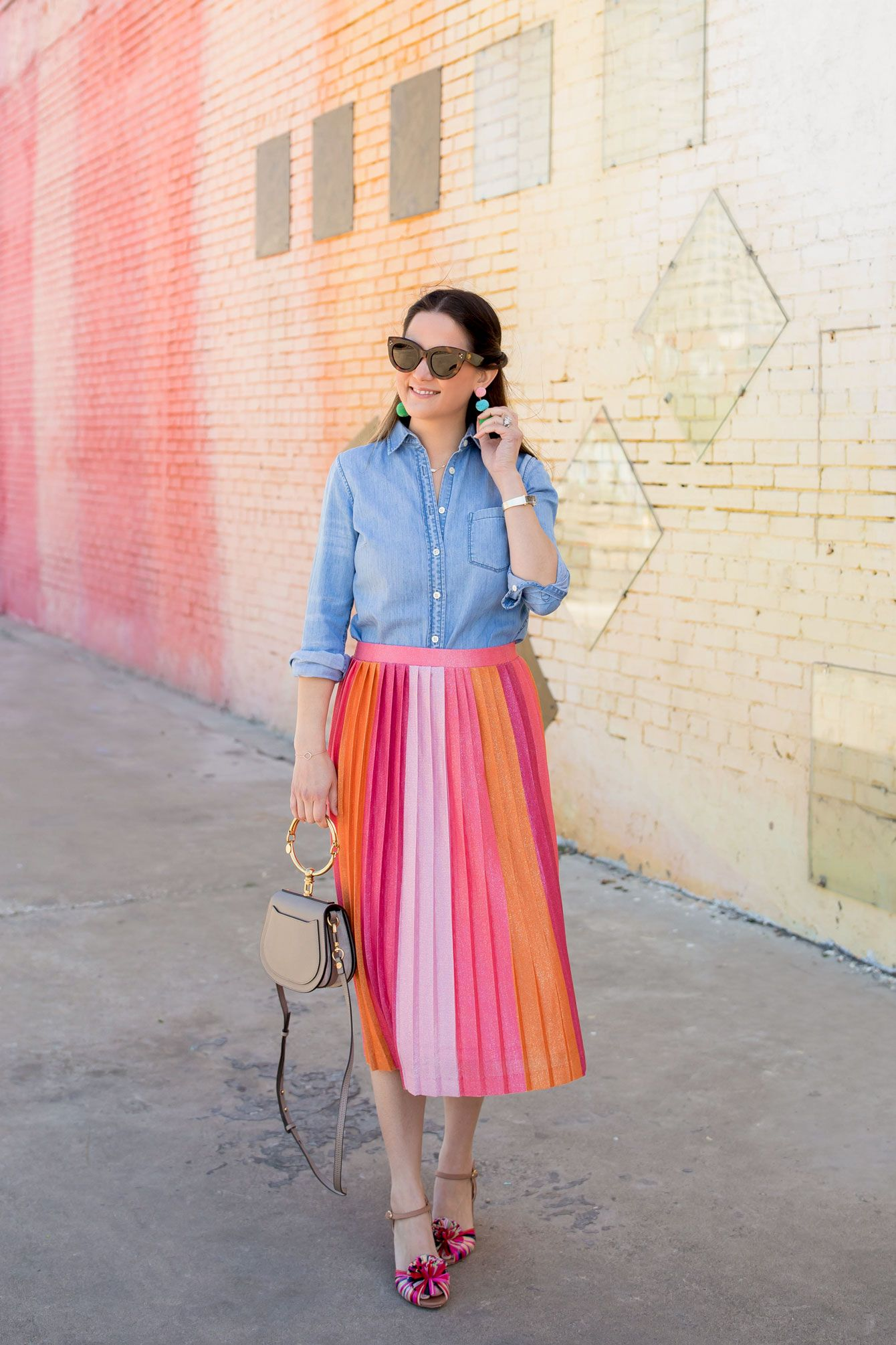 a46417842 Anthropologie Maeve Pink Ombre Pleated Midi Skirt