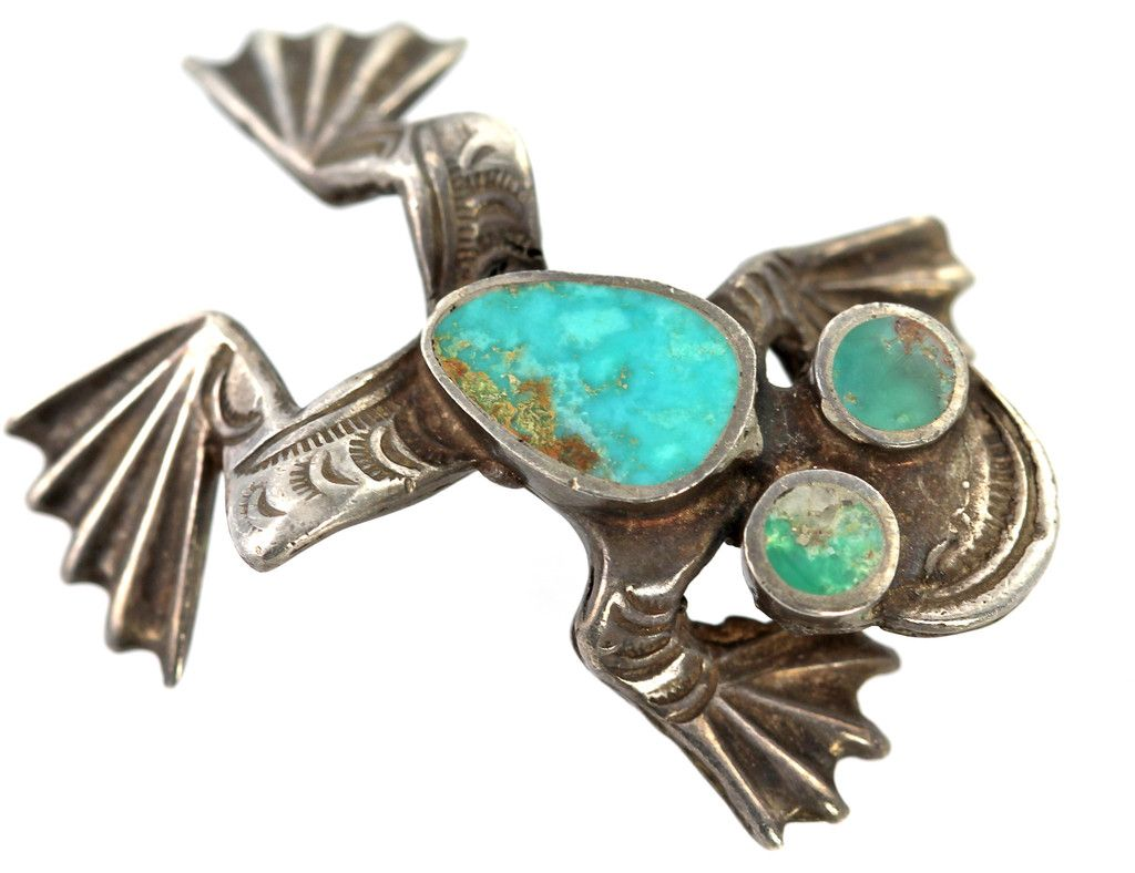 Vintage Navajo Sterling Silver Inlay Turquoise Frog Pin