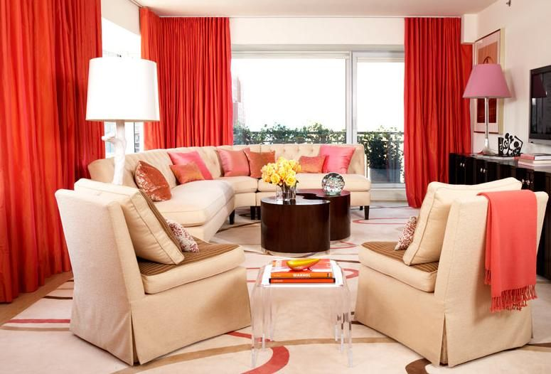 Red Curtains Living Room Decorating With Cream Sofa Furniture Sets Red Apartment Living Room Living Room Red Interior Design Living Room #red #and #grey #living #room #curtains