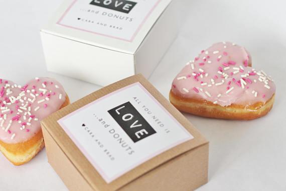 130 Donut Favor Boxes Single Kraft Donut Box Wedding Favor Donut Box Donuts Custom Labels