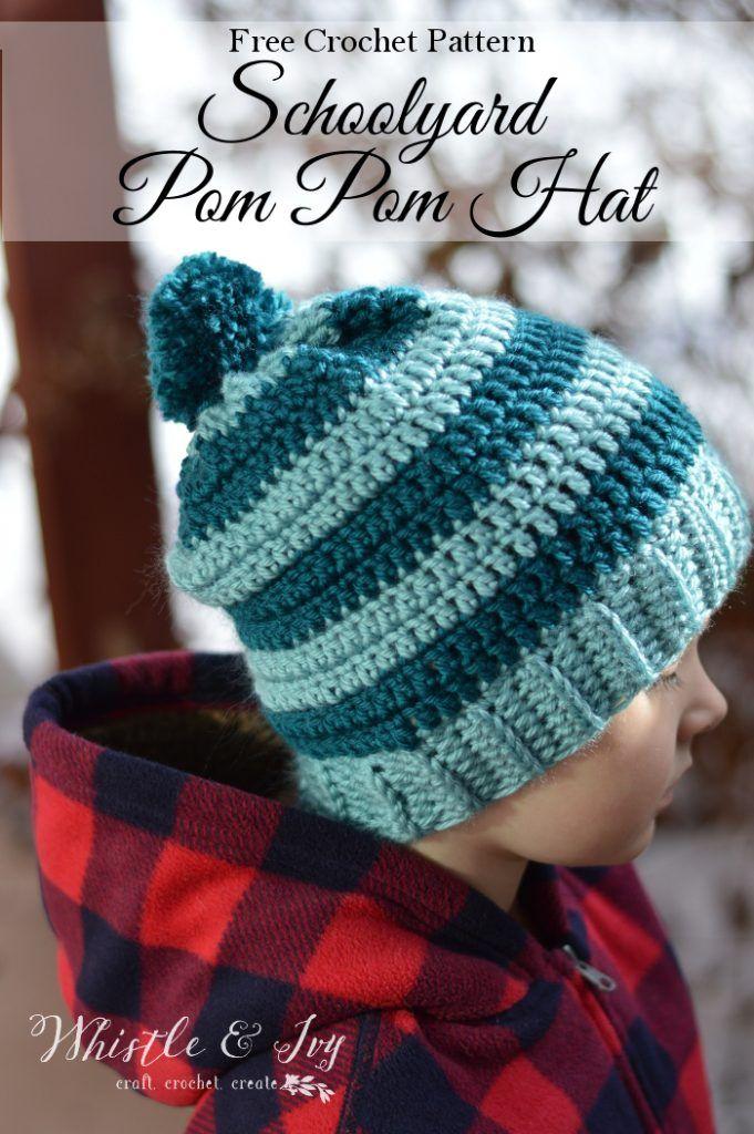 Schoolyard Pom-pom Hat Crochet Pattern | COCHET :gorros para niñas y ...