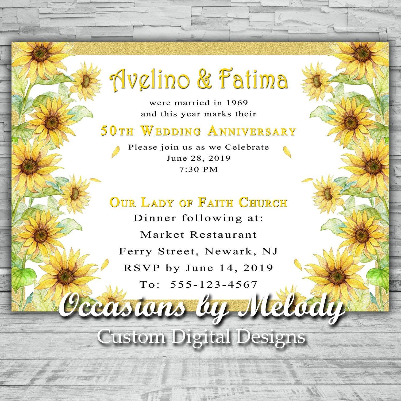 NEW NEW NEW!!! 50th Golden Anniversary Floral Invitation