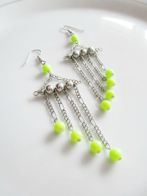 Casual, everyday jewelry: Geometric Green and Silver Long Dangle Earrings - Neon Green and Silver Beads with Graduated Thin Silver Chain on Silver Fishhooks by Katya Valera, $16.00
