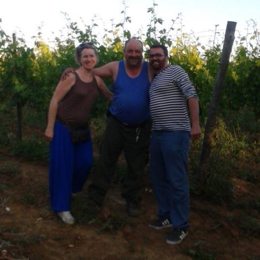 Al tramonto nelle vigne di Poggio al Bosco con i nostri amici Els e Pietro dal Belgio!
