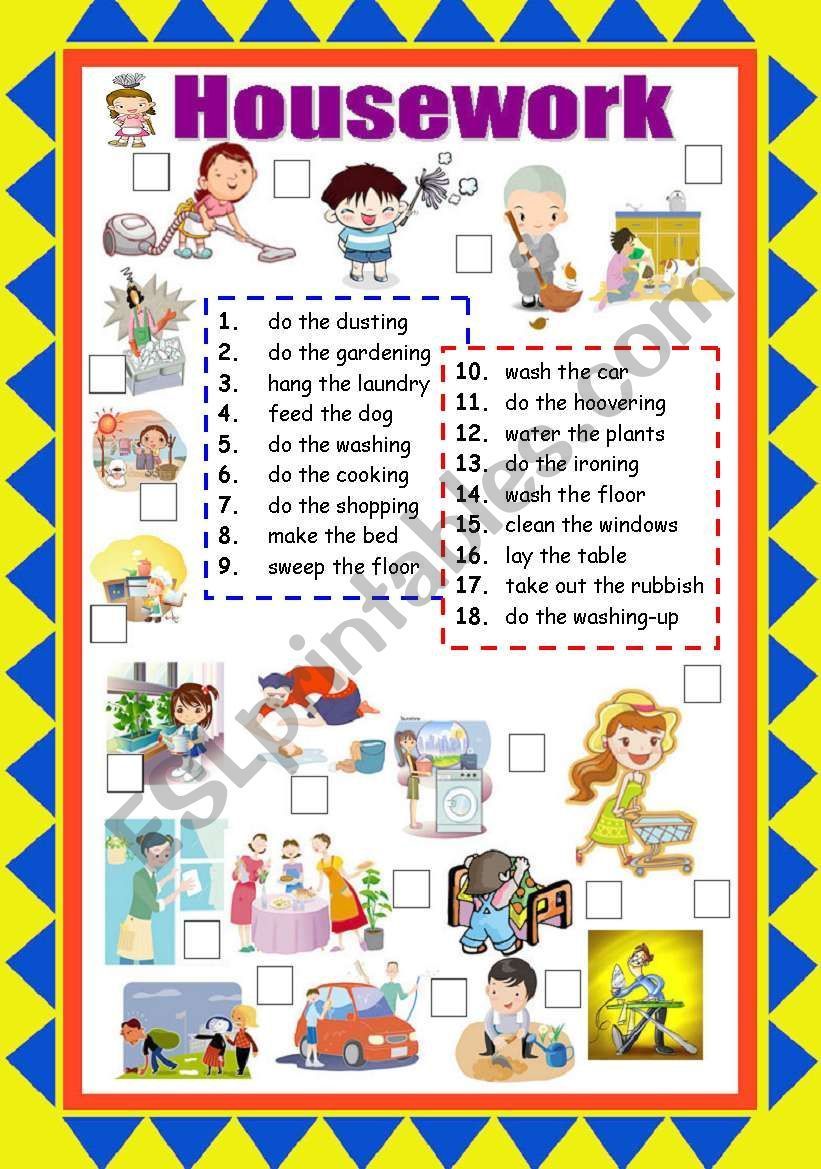 Picture matching worksheet about housework vocabulary