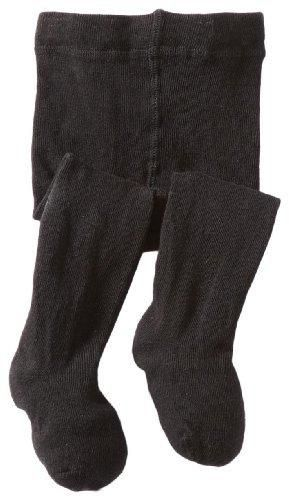 Jefferies Socks Baby-girls Infant Seamless Organic Cotton Tights Black 6-18 Months