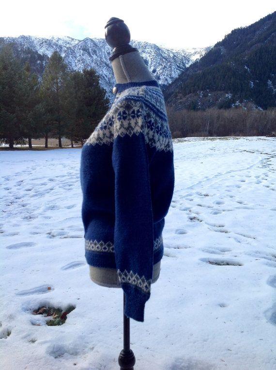 Fair Isle Vtg Handknit Norwegian Cardigan Sweater by VikingRaids