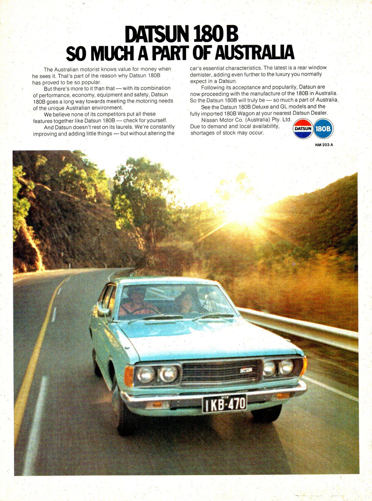 1976 datsun 180b nissan aussie magazine advertisement nissan