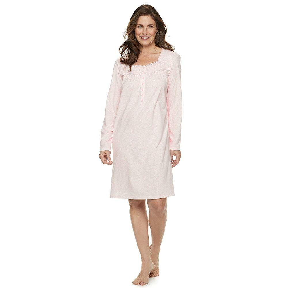 f1e16527acc5 Women's Croft & Barrow® Sleep henley Nightgown, Size: Medium, Brt Pink