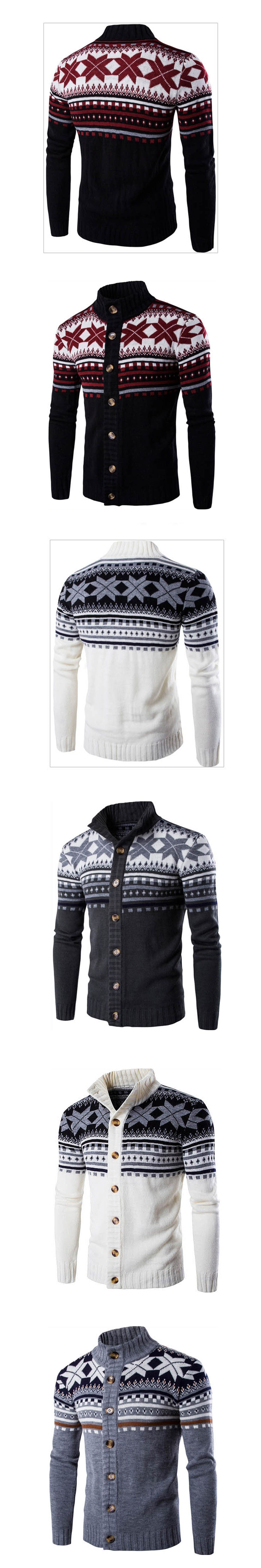 2017 Christmas Sweater Print Snowflake Cardigan Man Ugly Christmas ...
