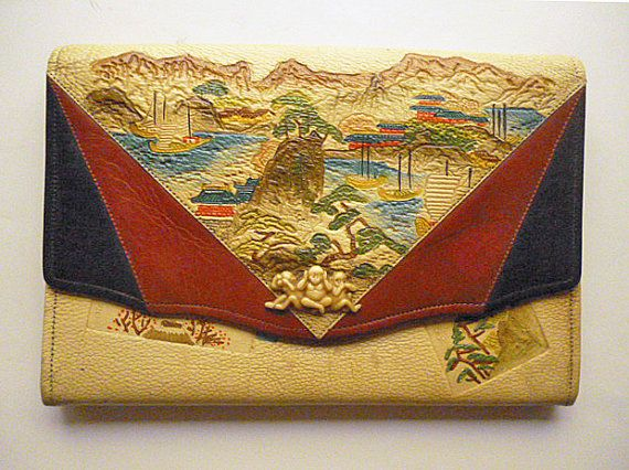 Art Deco Exotic Chinoiserie Asian Souvenir Leather Purse with Monkeys