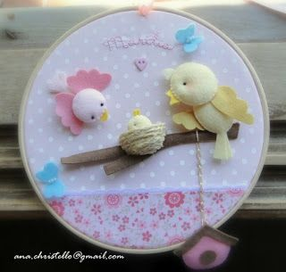 : Porta de maternidade - bastidor - tema passarinhos