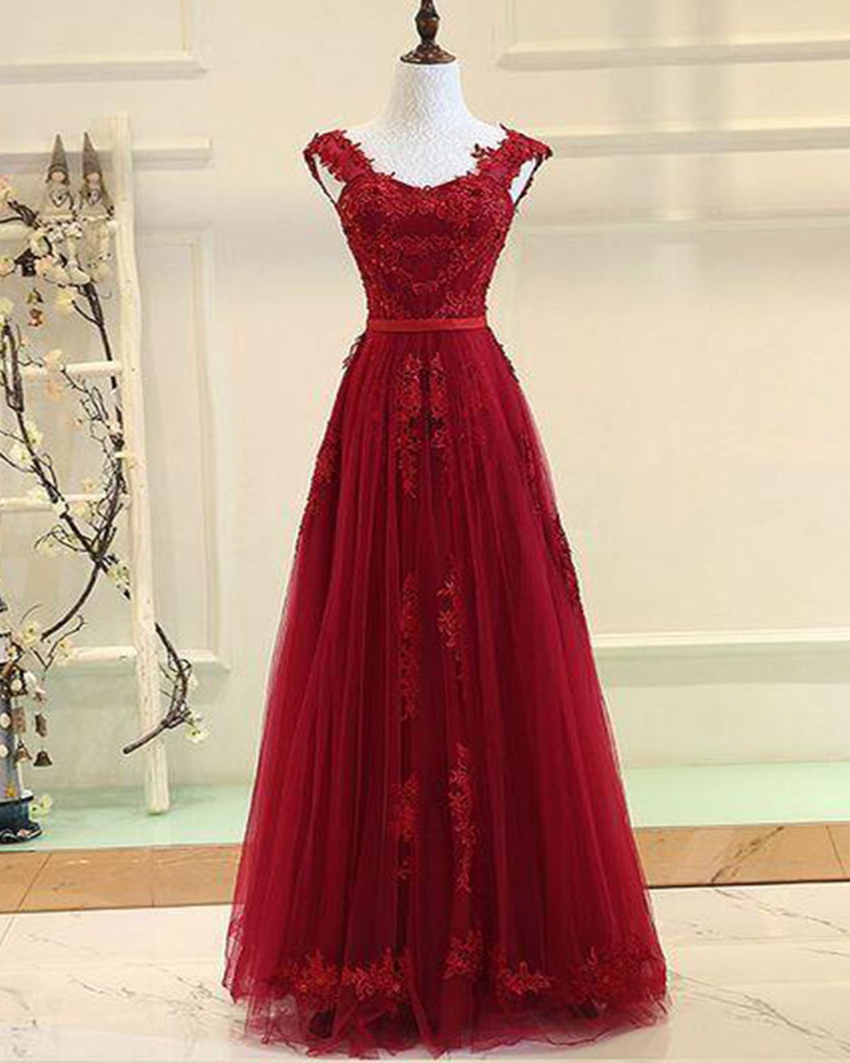 Lace prom dress burgundy prom dress tulle prom dress for teens
