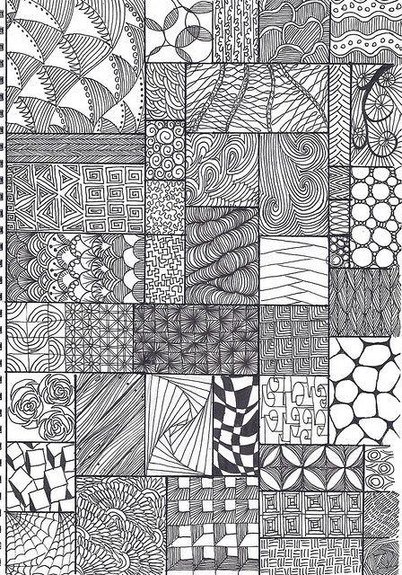 Zentangle Pattern Sheet In 40 ColorFree Pinterest Zentangle Fascinating Pattern Sheets