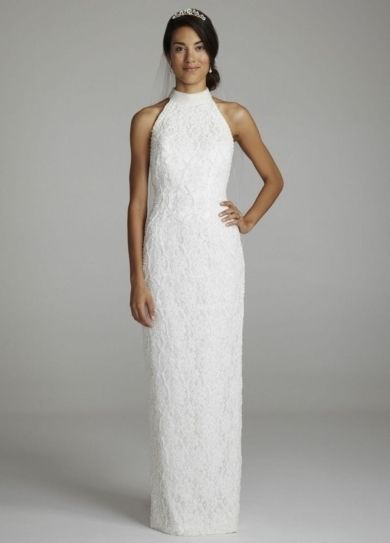 Lace Halter Gown with Sweep Train - Wedding Dresses by David's Bridal - Loverly