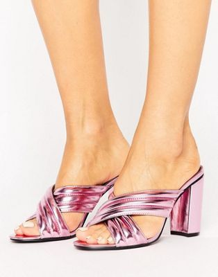 Daisy Street Pink Metallic Mule Heeled Sandals