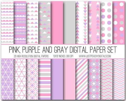 Pink Purple And Gray Digital Scrapbook Paper Set Paper
