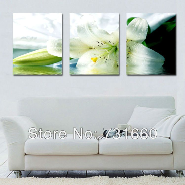 living room art prints%0A   Pannels Lily Flower Print Canvas Painting for Living Room White Lily Art  Canvas Free Shipping