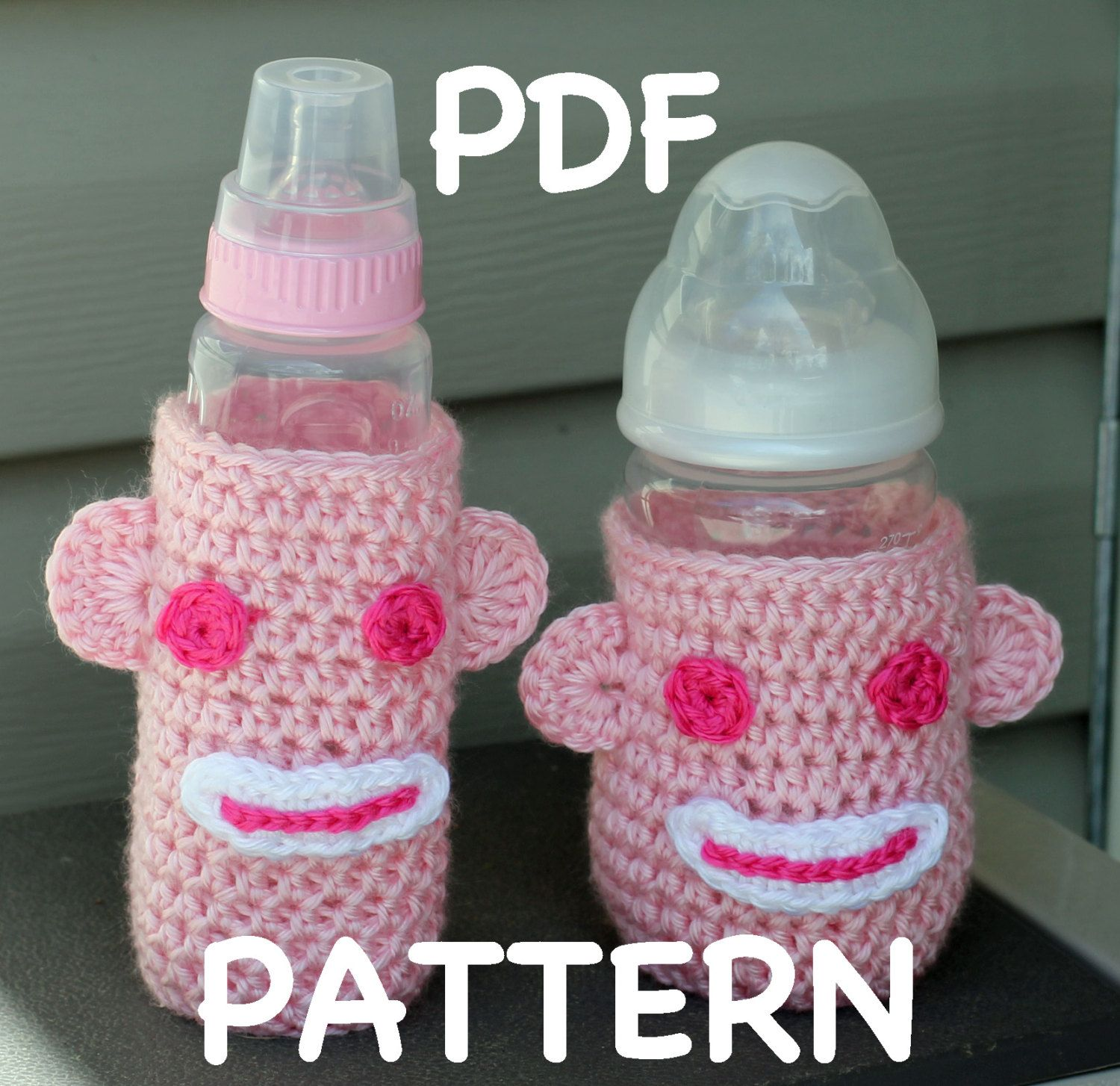 INSTANT DOWNLOAD Crochet Sock Monkey Baby Bottle Cozy Pattern