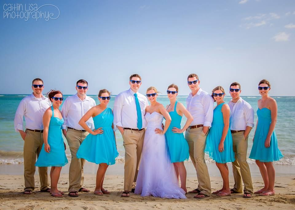 Jamaican Destination Wedding Cute Bridal Party Picture! Love The Bright  Blue Bridesmaids Dresses For The Beach Pictures