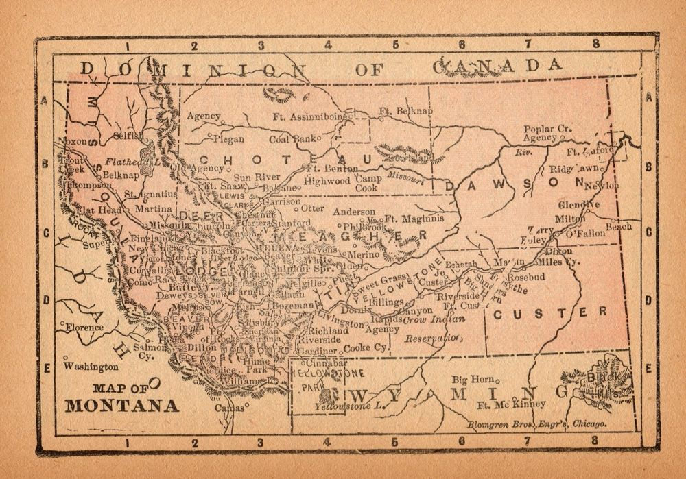 Poster Many Sizes; Map Of Montana 1885