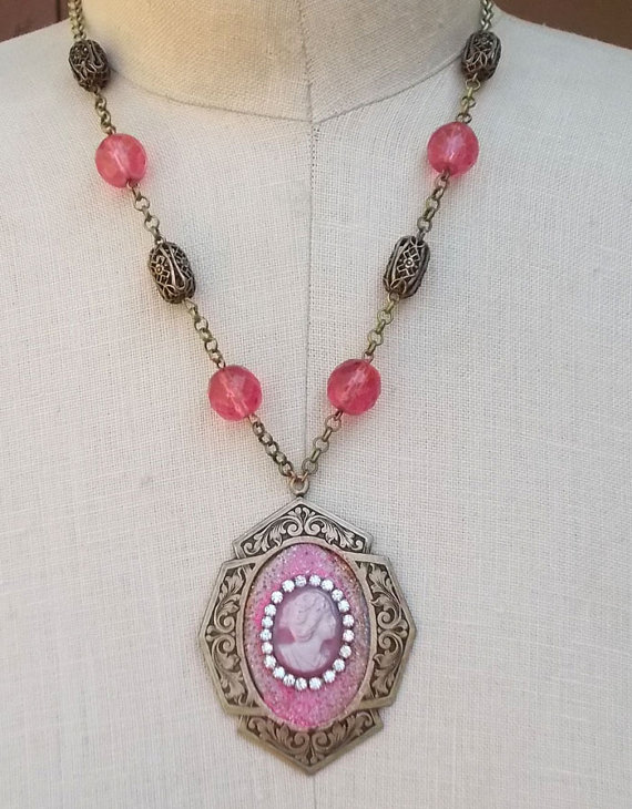Pink Cameo Necklace Victorian Style Glass Rhinestone by LilisGems, $38.00