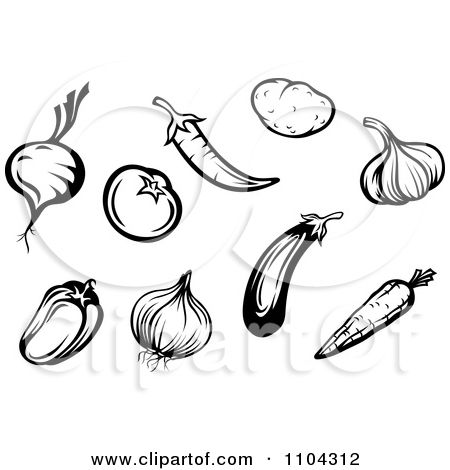 Clipart Black And White Vegetables A Beet Or Onion Tomato Peppers Garlic Carrot P Clipart Black And White Free Vector Illustration Black And White Illustration