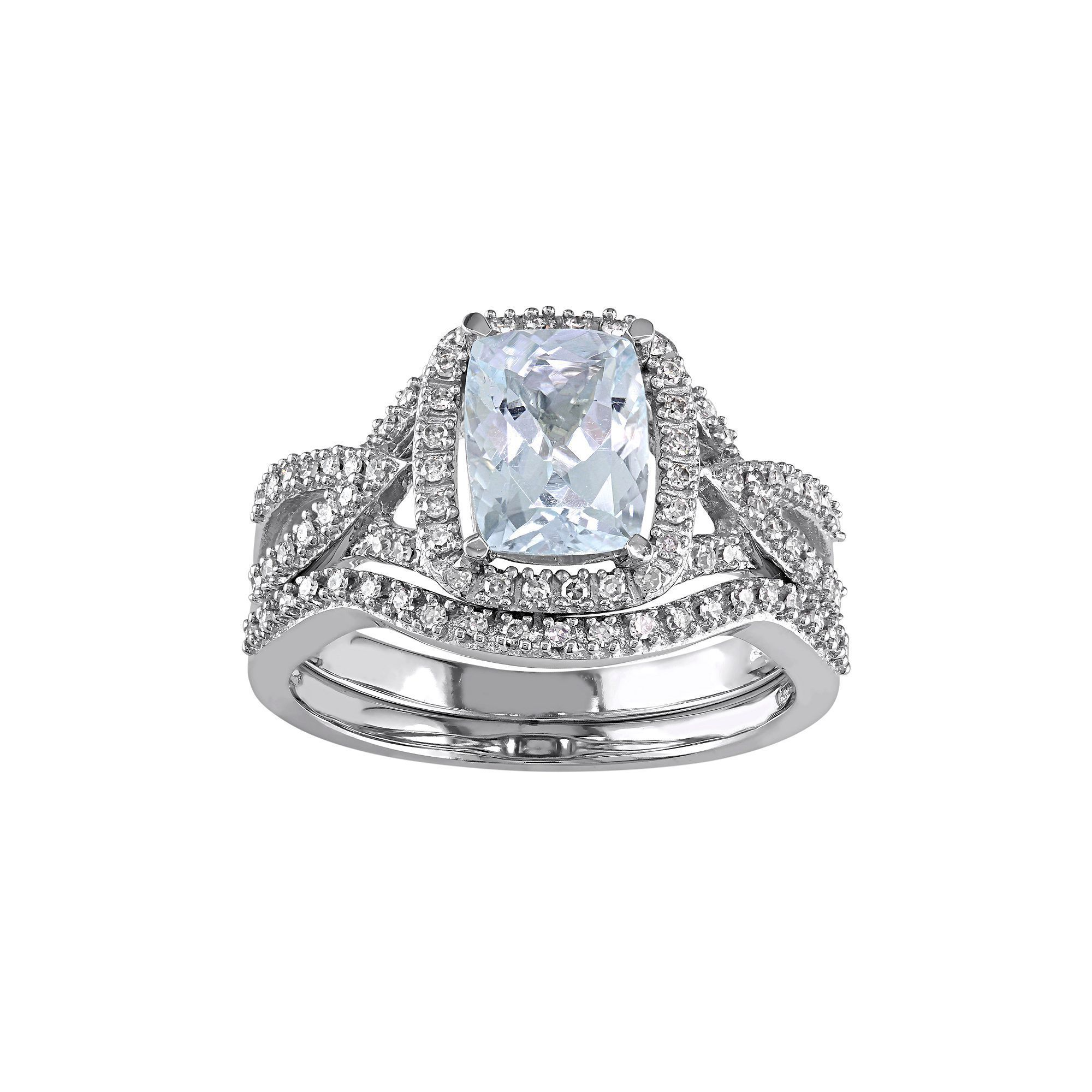 10k White Gold Aquamarine & 1/4 Carat T.W. Diamond Engagement Ring Set, Blue