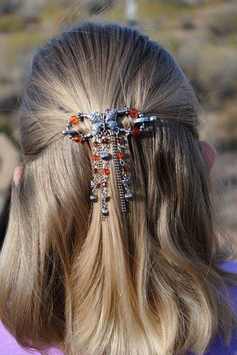 Butterfly hair clip with dangles!