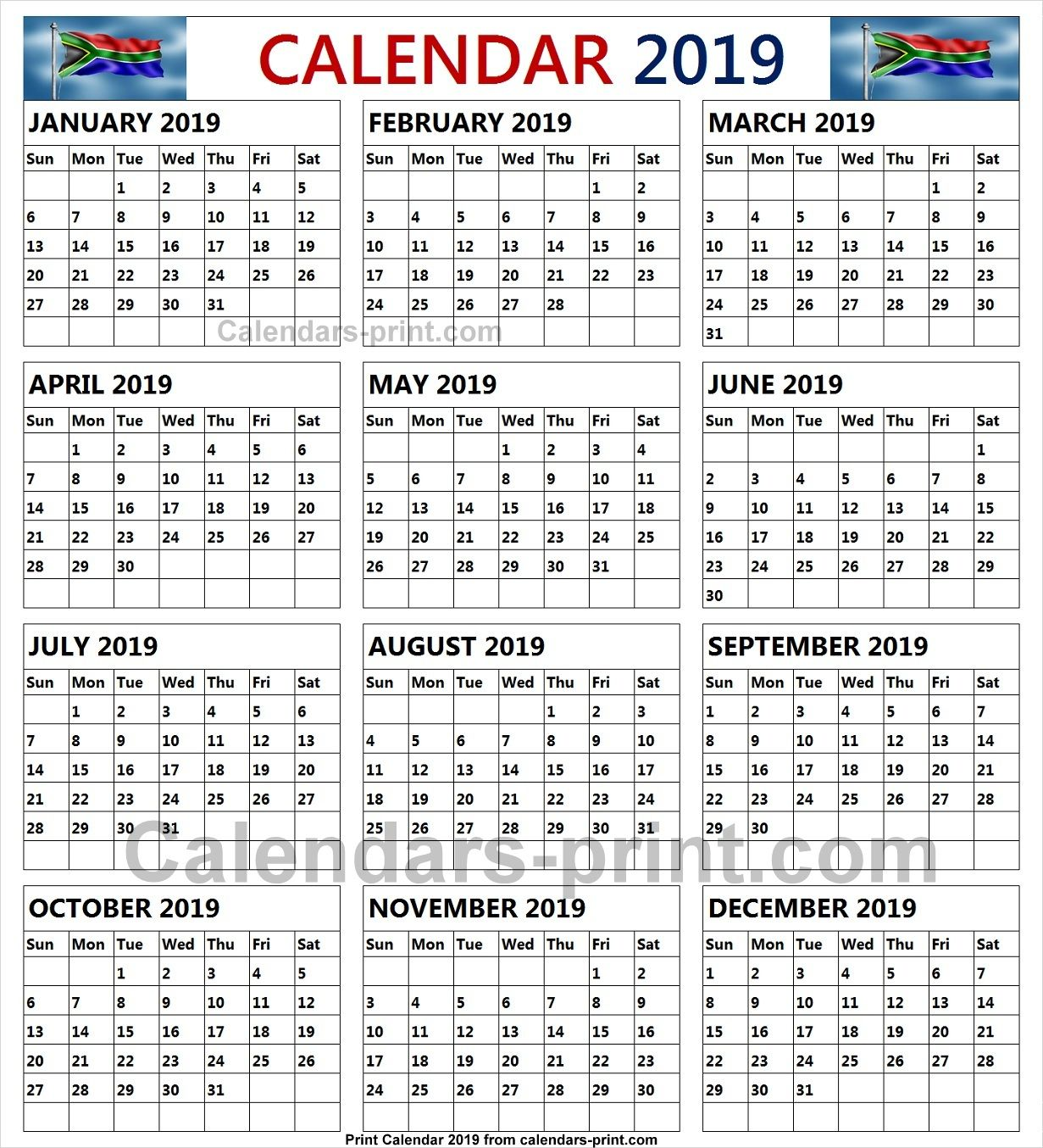 2019 South African Calendar With Public Holidays School Holiday Calendar School Calendar Print Calendar