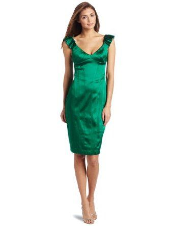 ac7d71bccbf Maggy London Women s Stretch Satin Dress with Pleated Shoulder ...