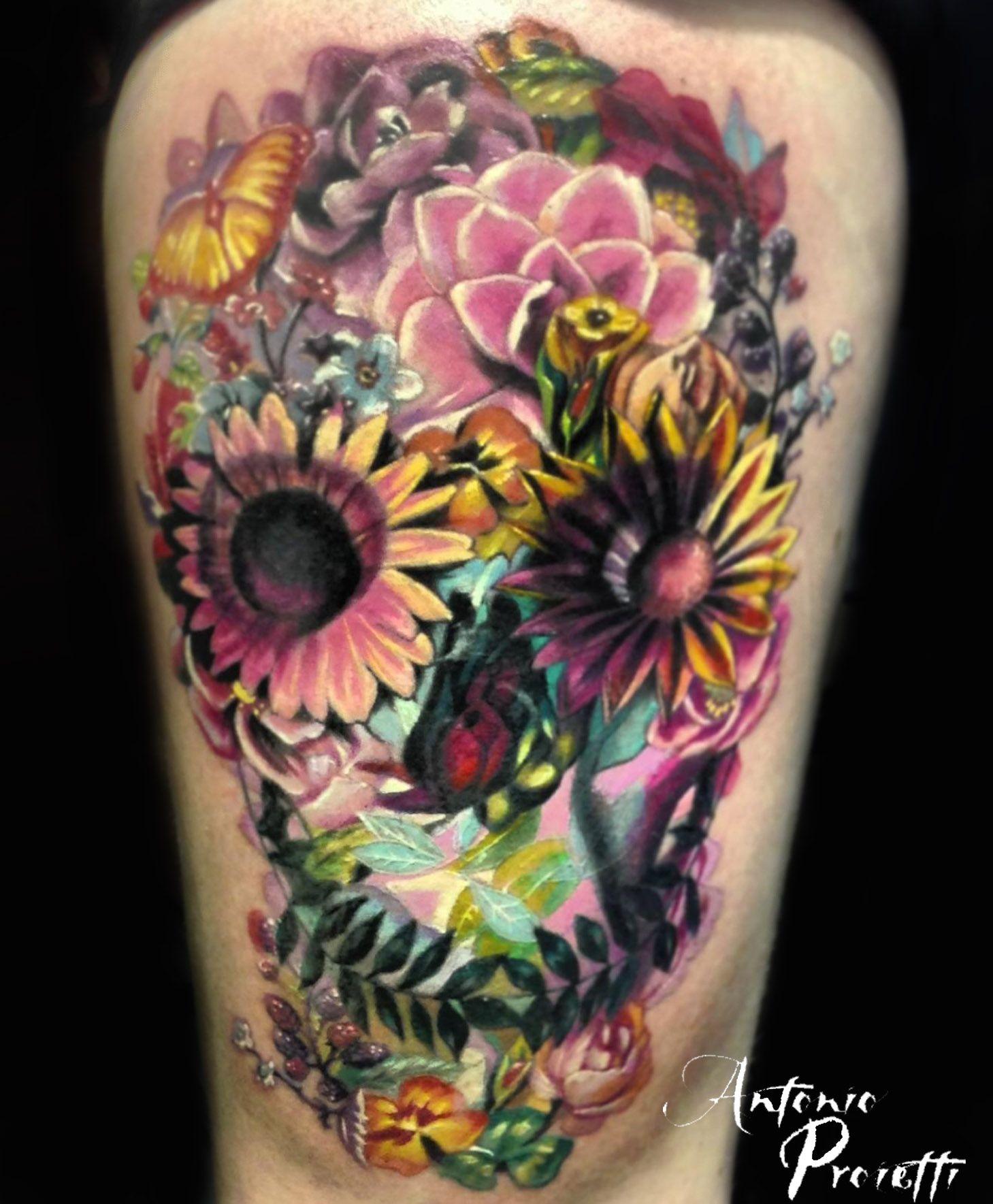 Antonio proietti mexican skull camdentown tattoo studio for Skull and flowers tattoos